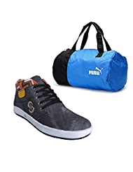 Elligator Gray Stylish Sport Shoes With Puma Duffle Bag For Men's