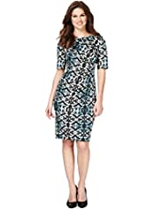 Ikat & Ombre Print Ruched Dress