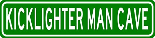 KICKLIGHTER MAN CAVE Sign - Personalized Aluminum Last Name Street Sign - 6 x 24 Inches