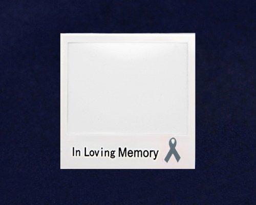 Gray Ribbon Photo Pin- In Loving Memory (25 Pins)