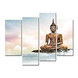 4 Pieces modern Canvas Painting Wall Art The Picture For Home Decoration Statue Of Sakyamuni Buddha Bangkok Temple Sculpture Buddha Religious Print On Canvas Giclee Artwork For Wall Decor