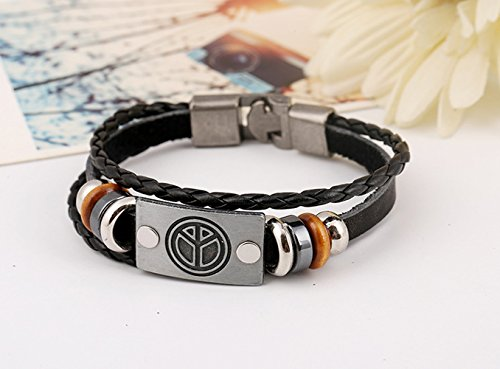 Wrist Chunky Metal Ancient Plane Shape Beads Blck Color Leather Silver Wrap Bracelet (Mix Master Move 2 compare prices)