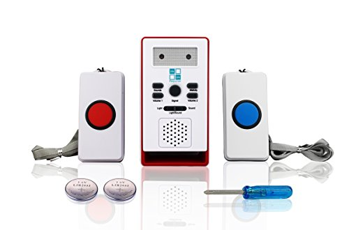 Caregiver Pager Home Alert Buzzer System LLR-10 – 2 Wireless Help Buttons Included with 32 Melody/alarm sounds to choose from. Home Patient Call Alert Pager