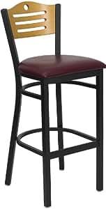 Flash Furniture XU-DG-6H3B-SLAT-BAR-BURV-GG Hercules Series Black Slat Back Metal Restaurant Bar Stool with Natural Wood and Burgundy Vinyl Seat