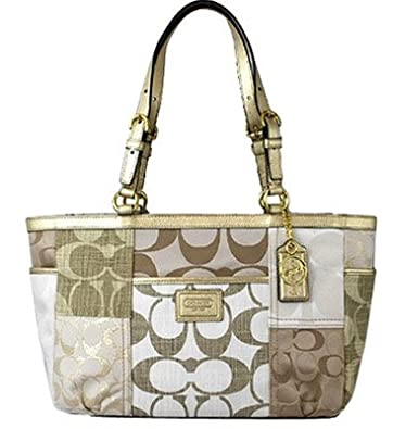 Coach Signature Patchwork Gold Metallic Gallery Tote F19047 $398