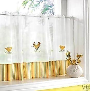Cortinas de cocina o caf con gallos y pollos en blanco y - Ver cortinas para cocina ...