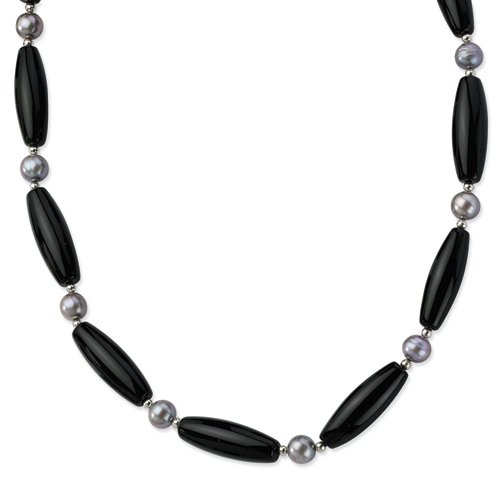 Sterling Silver 30x10mm Black Agate/8mm FW Cult Silver Pearl Necklace