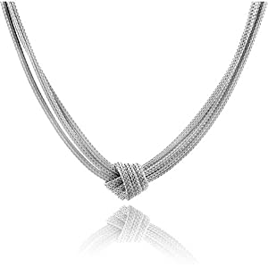 Sterling Silver 3-Strand Mesh Knot Necklace -17