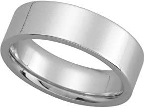 Womens 14K White Gold Flat Comfort Fit Wedding Band 6MM