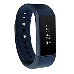 TopOne i5 Plus Smart Bracelet Bluetooth 4.0 Bluetooth IP55 Waterproof OLED Touch Screen Pedometer Tracking Calorie Health Smart Wristband Sleep Monitor Call Reminder for Android IOS Smartphone (Blue)