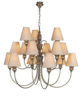 Cosmopolitan – 15 arm Bronze Finish Chandelier & taupe silk shades – Houseoflights   #Best Sellers