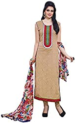 K.K BROTHERS Women's Cotton Dress Material (Beige)