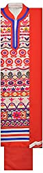 Threads Women's Chanderi Dress Material (Th7001_Cream And Red)