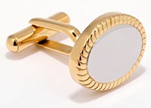 Stainless Steel Two Toned Round Cufflinks in a Nice Gift Box (ck9)