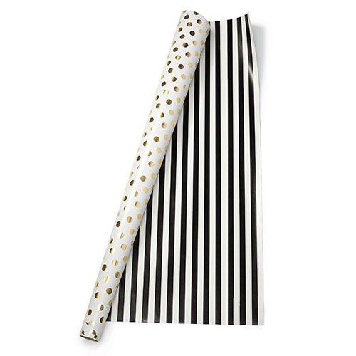 kate-spade-new-york-papier-cadeau-a-pois-dore-noir-raye