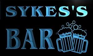 w001214-b SYKES Name Home Bar Pub Beer Mugs Cheers Neon Light Sign