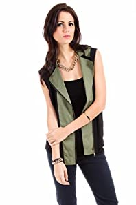 Romeo and Juliet Couture Sheer Zippered Vest in Olive and Black