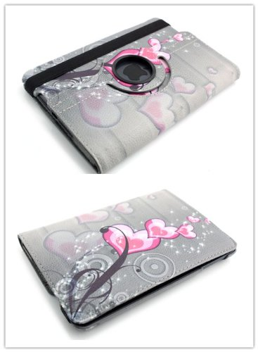 Big Dragonfly Fashion 360 Degree Rotating Pu Leather Folio Wallet Case With Stand & Hand Strape For Ipad Mini 1 - 360 Degree Rotating (Heart And Flower Pattern-Grey)