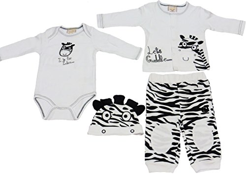4 Piece Zebra Outfit for Baby 6-9 Months (Cardigan, Onesie, Pants,Hat)