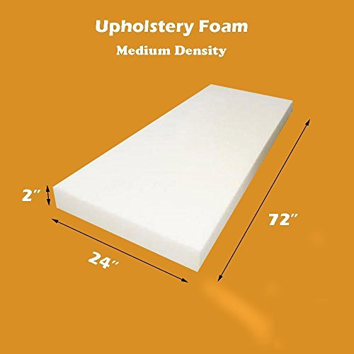 "Purchase Mybecca 2"" X 24""x 72"" Upholstery Foam Cushion Medium Density (Seat Replaceme..."