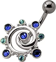 Blue Whirlpool - Belly Button Ring - Sapphire Blue & Aqua by Pierce This 2