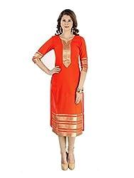 Clickedia Women's Georgette Kurti (Zarna Orange kurti_Orange_Free Size)