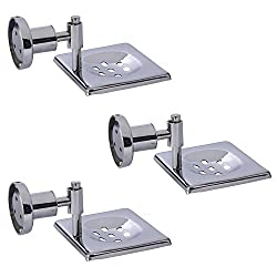 Dolphy Set Of 3 Stainless Steel Soap Dish - 13 cms x 11 cms x 7 cms, Silver