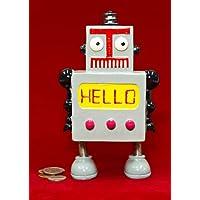 Whimsy Grey Robot Hello Coin Piggy Bank