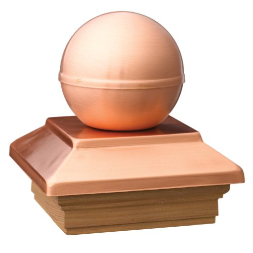 Deckorators 72300 Victoria Ball Copper Post Cap with Cedar Base