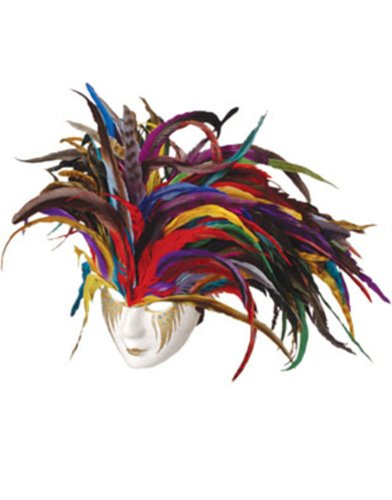 Deluxe Paper Mache Feather Mardi Gras Carnival Costume Mask
