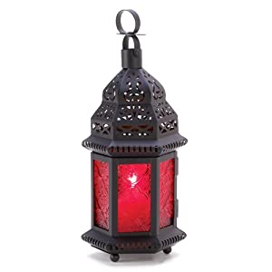 Red Glass Metal Moroccan Candle Holder Hanging Lantern (1 Lantern)