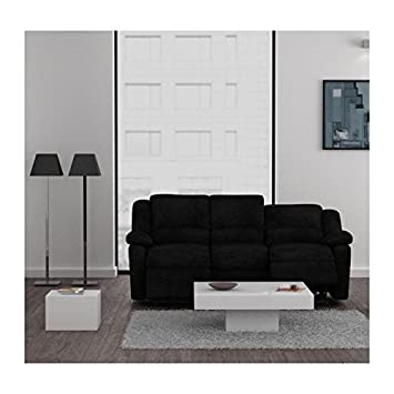 Relax sofá 3plazas Relajación Tejido Negro