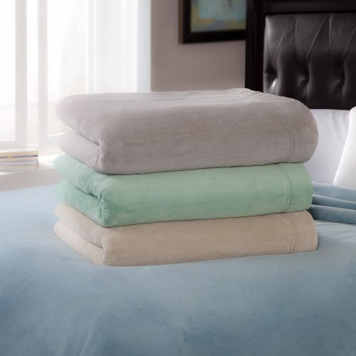 Serta Serta Luxe Plush Electric Warming Throw, Pearl, Polyester, Throw