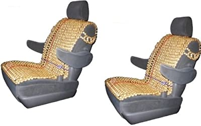 Zone Tech 2 Pack Natural Royal Wood Bead Seat Cover Massage Cool Premium Comfort Cushion - Reduces Fatigue the Car or Truck or your office Chair