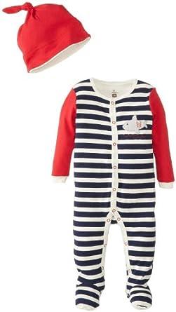 PETIT LEM Baby Boys Pirat-A-Saurus Baby Sleeper Stretchie and Hat - 83T252901 - Navy, 18 Months