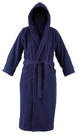 John Christian - Peignoir à capuche en éponge - Marine - 100% Coton (XL)