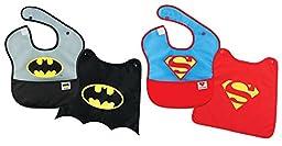 Bumkins Batman and Superman Bib With Cape, 2 Pack