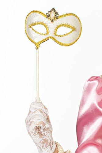 Jannes 34380 Deluxe Venezianische Maske mit Stab Weiß/Gold