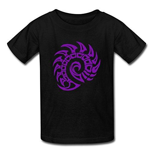 Mzone Cool Youth Starcraft Game Zerg Symbol Short Sleeve Size L Black