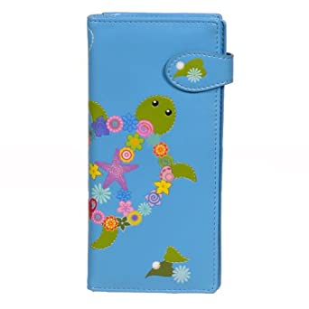 New Aqua Floral Turtle Large Women's Wallet By Shagwear