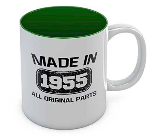 Made in 1955 All Original Parts Coffee Mug - Funny 61st Birthday Gift Tea Mug 11 Oz. Green