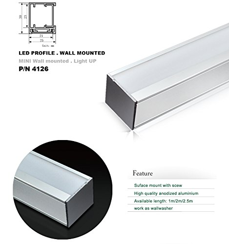 4126 1M/3.3Ft U-Shape Aluminum Channel - Led Aluminum Extrusion For Flex/Hard Led Strip Light White/Milk Cover