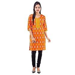 Kaash Women 's Straight Kurta_VRMTE06_XL_Orange