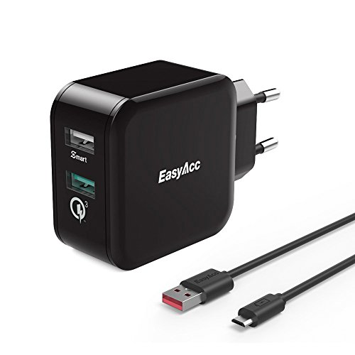 EasyAcc-30W-Quick-Charge-30-Cargador-2-Puertos-Mvil-de-Red-Smart-Carga-y-QC-30-para-LG-G5-HTC-10-One-A9-General-Mobile-GM5-Negro