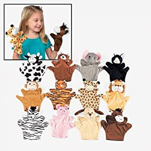 6 Plush Velour Animal Hand Puppets from wholesale-distributor