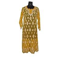A QUAD FASHION Women's Georgette Lucknowi Chikankari Kurti