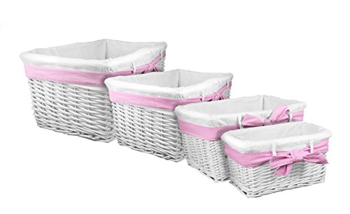 Lukasian House White Willow Baskets with Pink Ribbon, Set of 4 (Lukasian House Storage Basket compare prices)