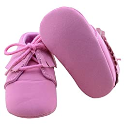 Voberry® Baby Girls Genuine Leather Soft Sole Shoes (6-9 months, Pink)