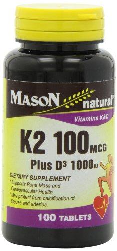Mason Natural K2 Plus D3 Tablets, 100 Count