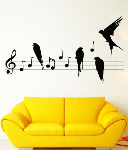 Wall Vinyl Stickers Birds Music Notes Cool Decor For Living Room Z1521M front-1010721